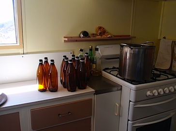 Sterilizing beer bottles